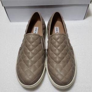 Steve Madden Taupe Quilted Slip On Sneaker